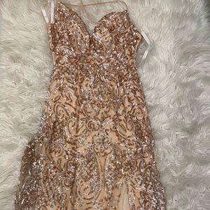 Rose Gold Long Sequin VNeck Prom Dress by PromGirl